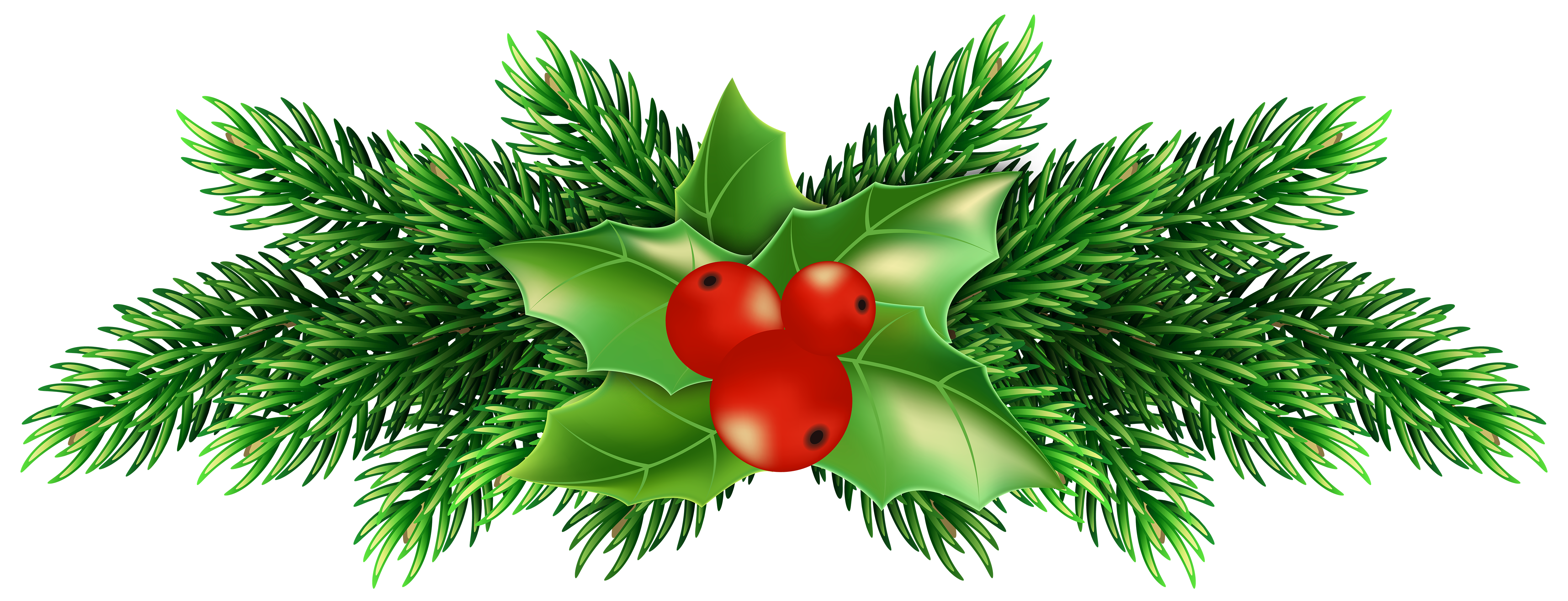Christmas clipart holly clip free stock Christmas Holly Pine PNG Clip Art Image | Gallery Yopriceville ... clip free stock