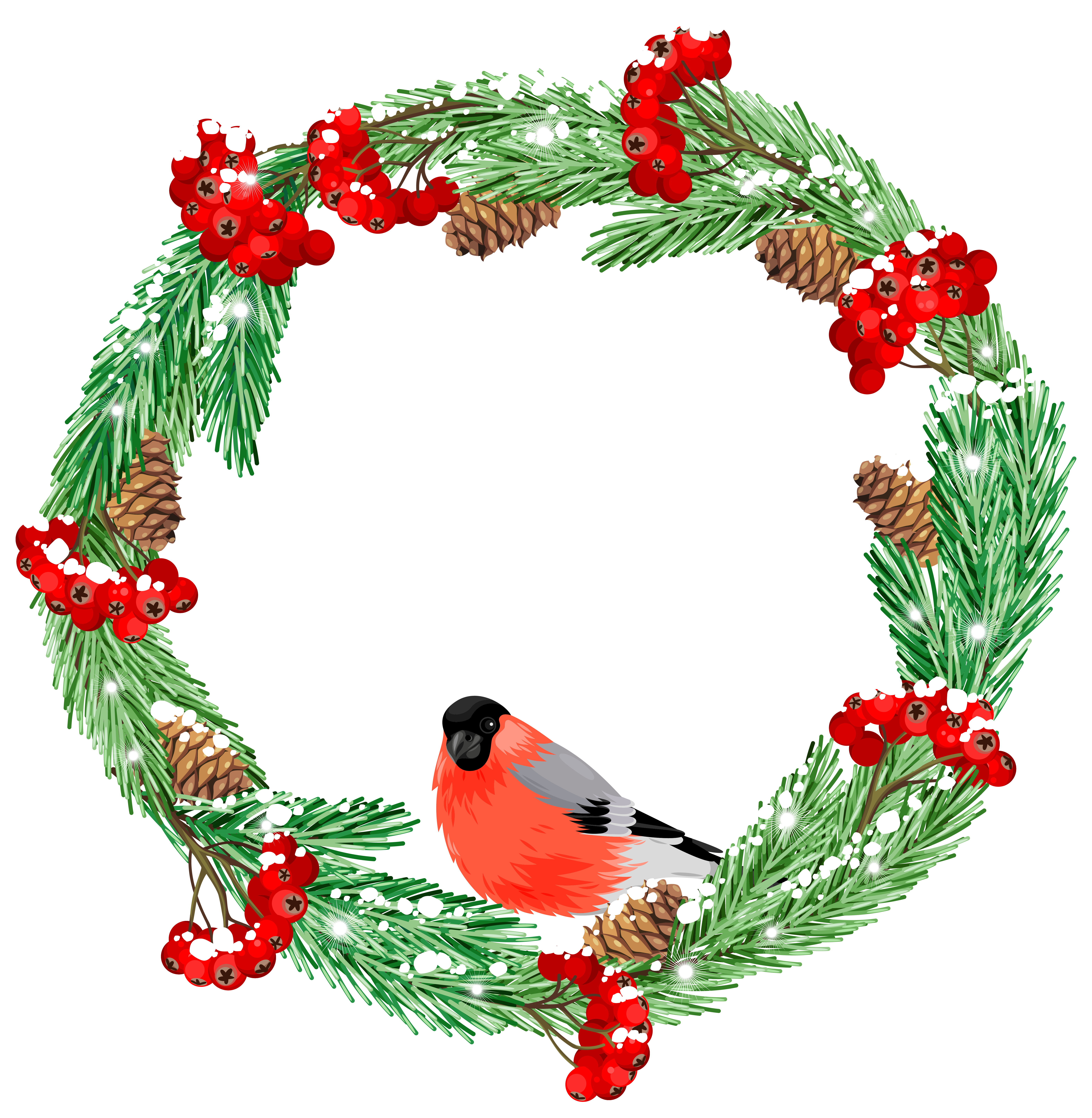 Winter flower clipart clipart royalty free Green Winter Wreath with Bird PNG Clip Art Image | Gallery ... clipart royalty free