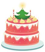 Christmas birthday cake clip art. Illustrations and stock