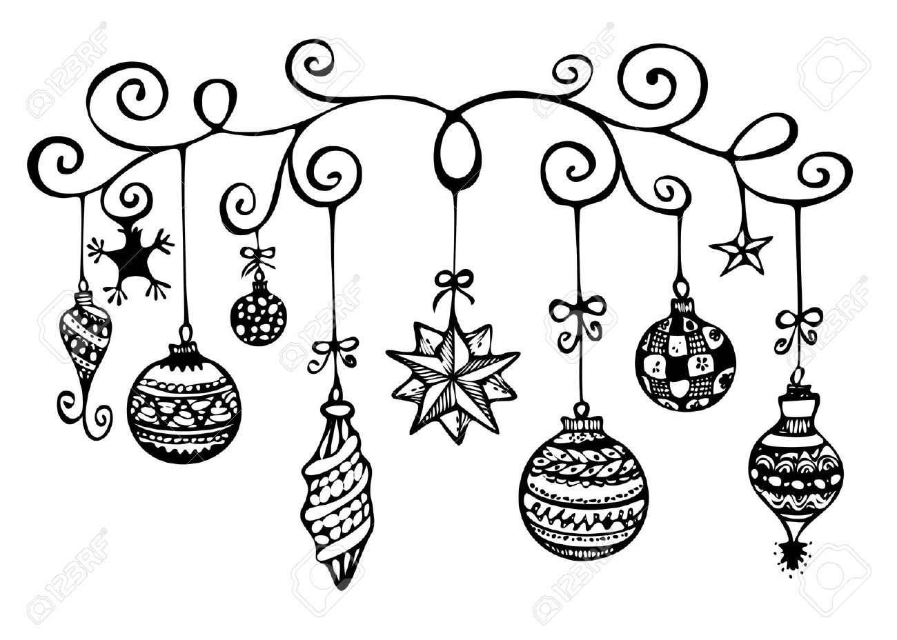 Christmas tree ornaments black and white clipart vector transparent download Christmas Tree Ornaments Clipart Black And White ...   Holiday ... vector transparent download