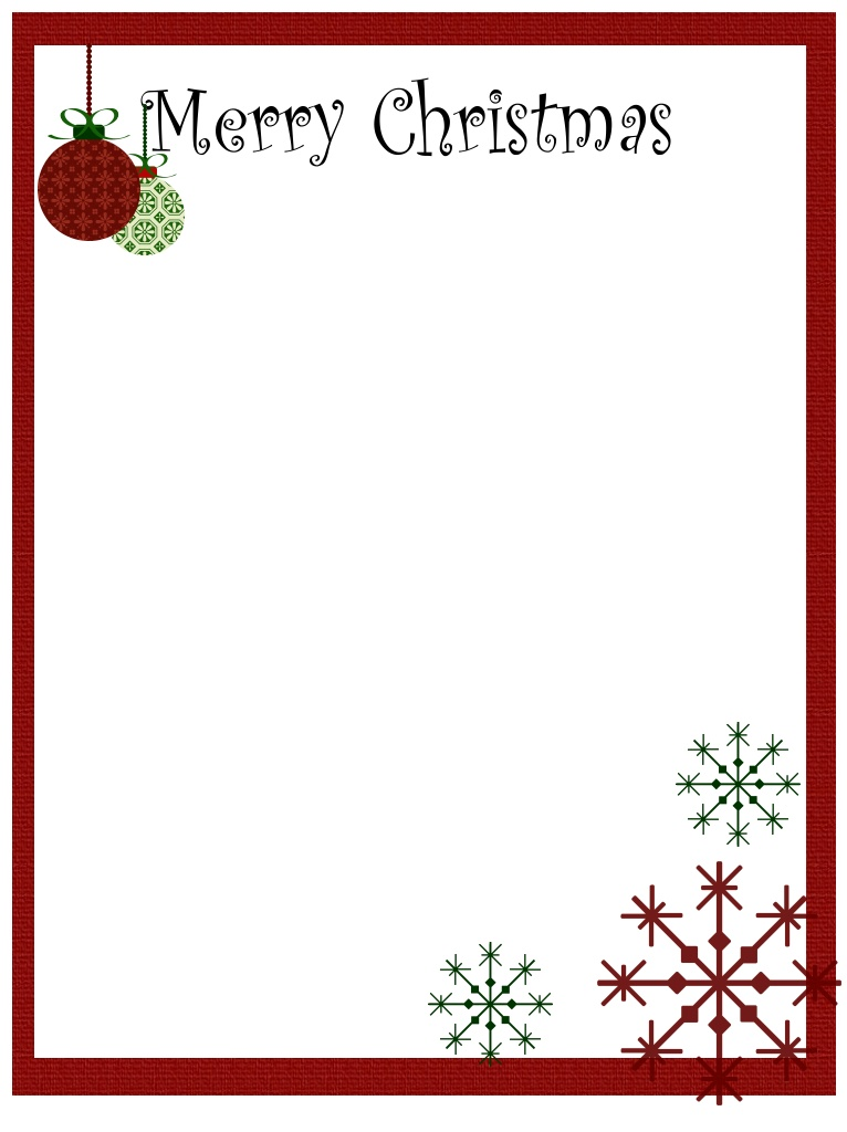 Christmas borders free printables. Holiday stationery templates download