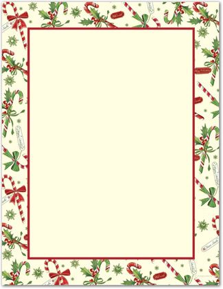 Candy cane holly letterhead. Christmas borders free printables