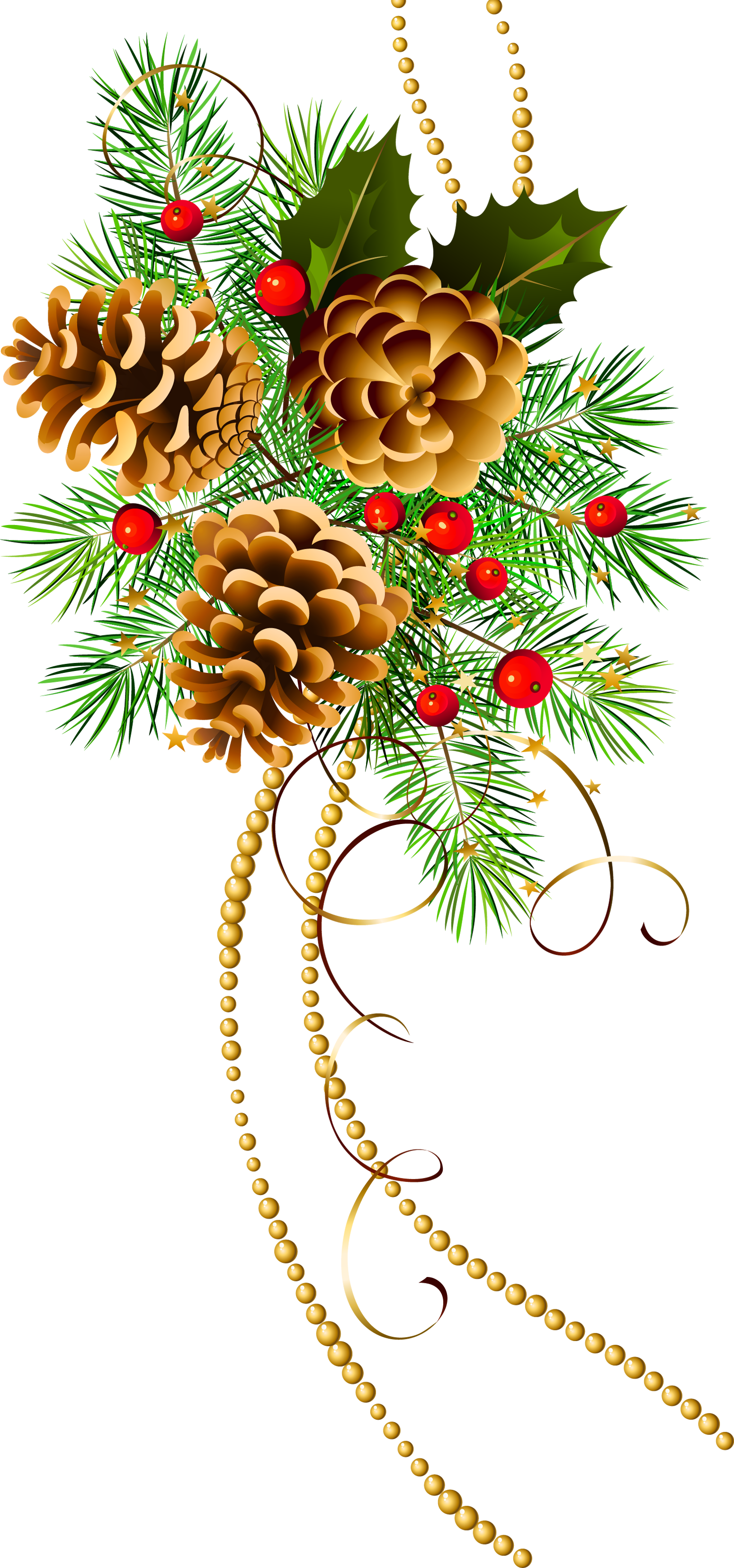 Pine tree branch clipart clip art Three Christmas Cones with Pine Branch Clipart | Gallery ... clip art