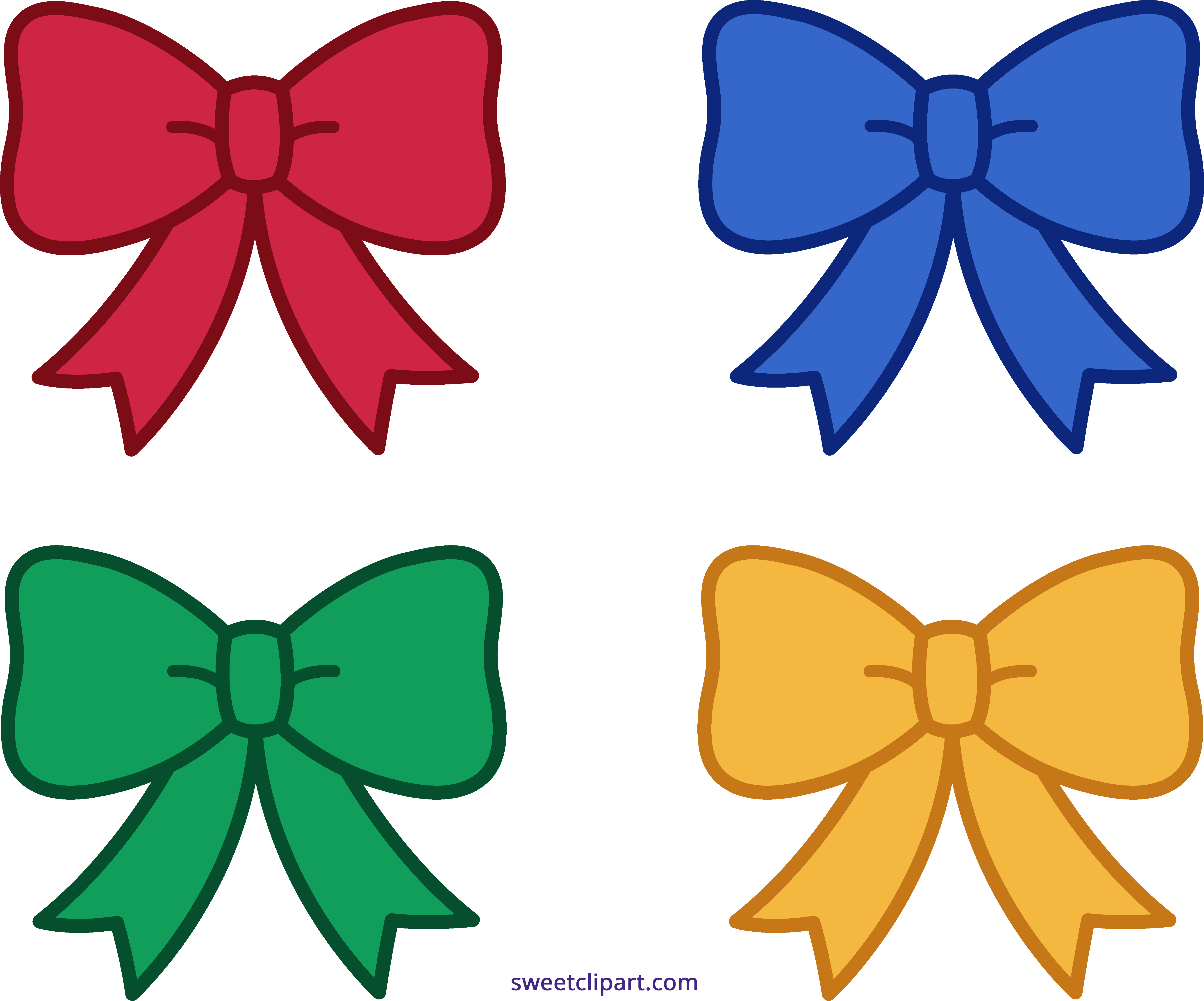 Clipart christmas bow picture free Four Christmas Bows Clipart - Sweet Clip Art picture free