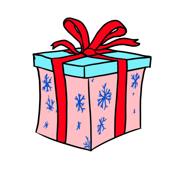 Christmas box clipart banner black and white library Christmas Gift Box Drawing at GetDrawings.com | Free for personal ... banner black and white library