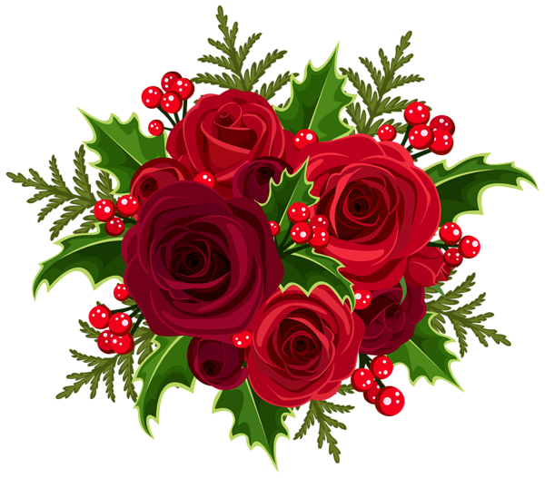Christmas brunch clipart png library stock Christmas Rose Decoration PNG Clip Art Image | Flowers | Pinterest ... png library stock