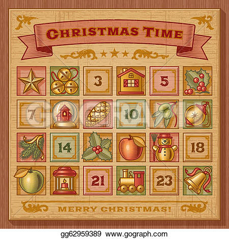 Christmas calendar clip art jpg free library Vector Stock - Vintage christmas advent calendar. Stock Clip Art ... jpg free library