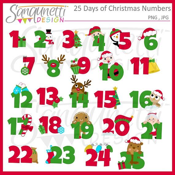 Christmas calendar clip art banner freeuse 25 Days of Christmas Clipart Christmas Numbers Christmas banner freeuse