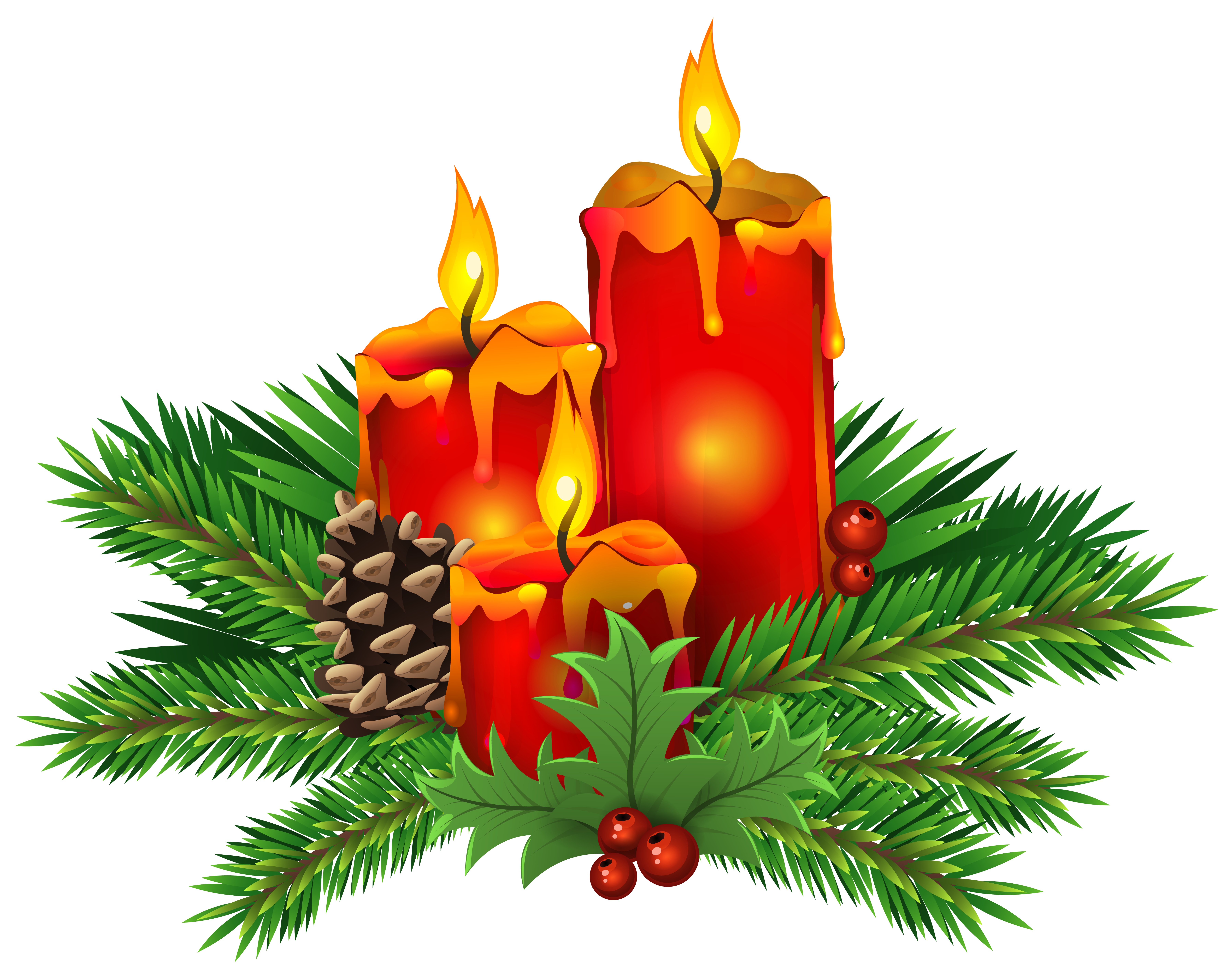 Tree lighting clipart vector royalty free download Christmas Candles PNG Clip Art Image | Gallery Yopriceville - High ... vector royalty free download