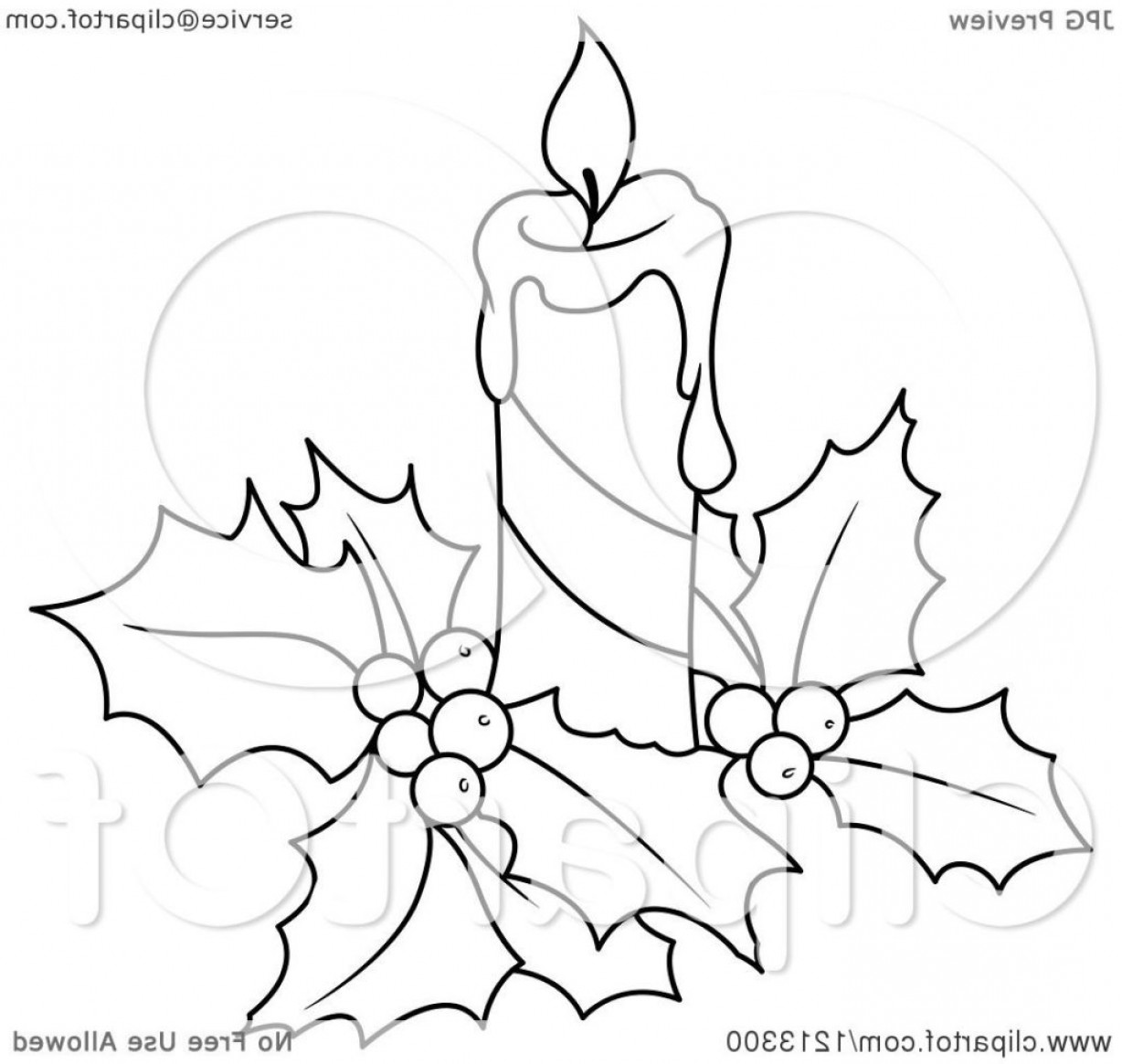 Christmas candles clipart black and white free banner free library Clipart Of A Black And White Christmas Candle Holly Royalty Free ... banner free library