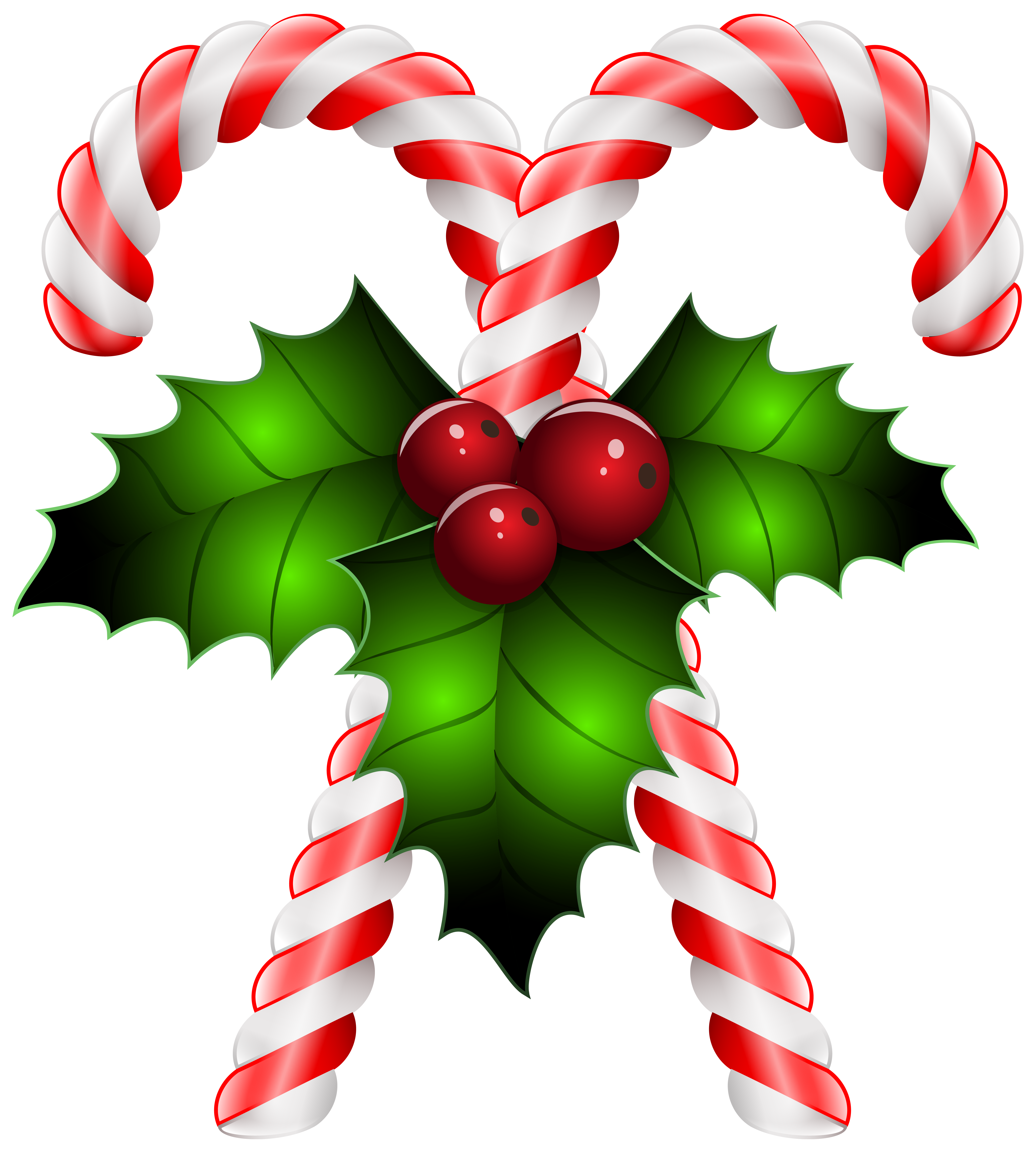 Christmas clipart with transparent background jpg free library Candy Canes with Holly Transparent PNG Clip Art Image | Gallery ... jpg free library