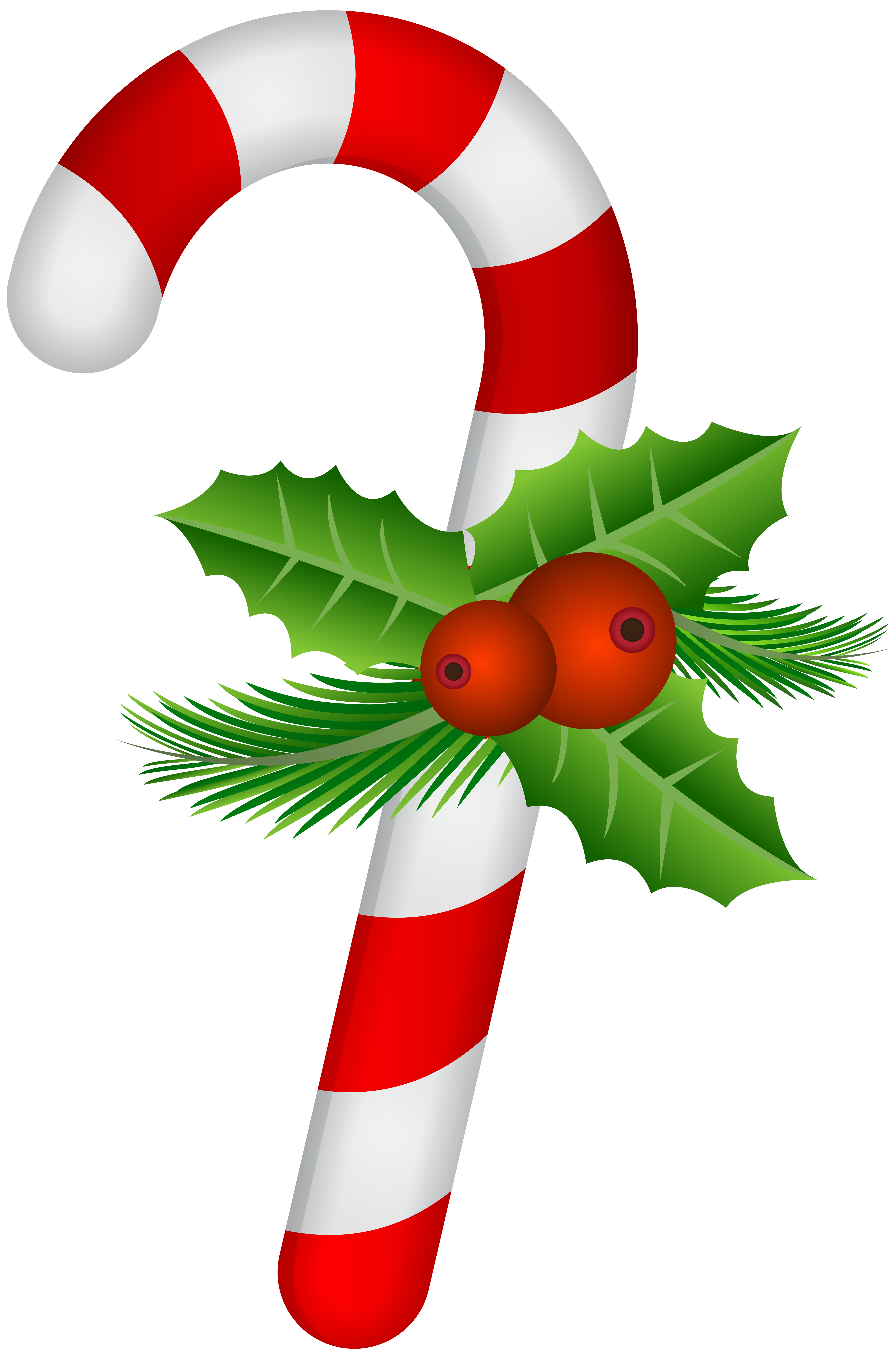 Christmas clipart holly clipart free Candy Cane with Holly Transparent PNG Clip Art | DESSETS CLIP ART ... clipart free