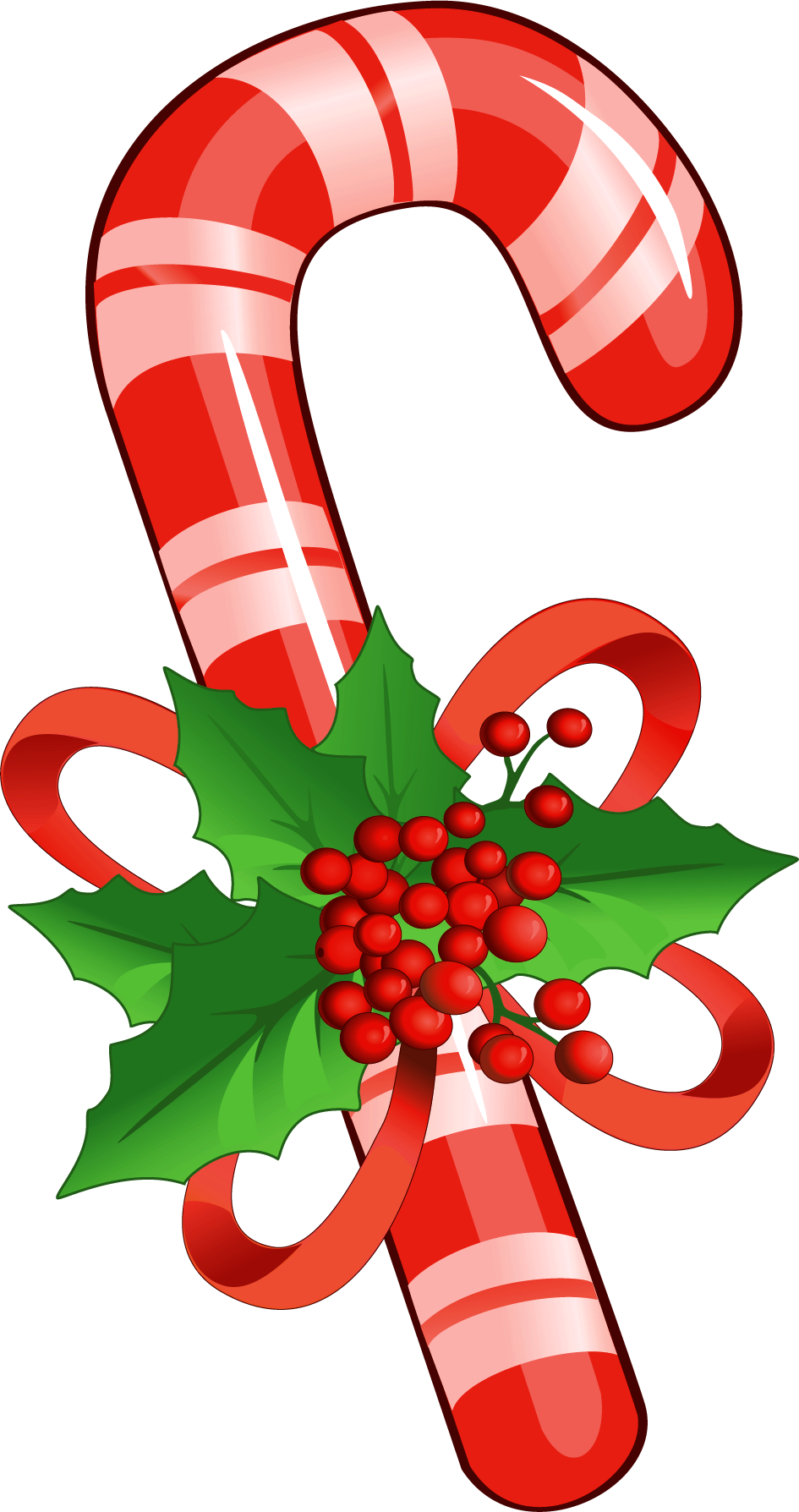 Christmas cane clipart banner freeuse download Candy Cane with Mistletoe PNG Clipart | Gallery Yopriceville - High ... banner freeuse download