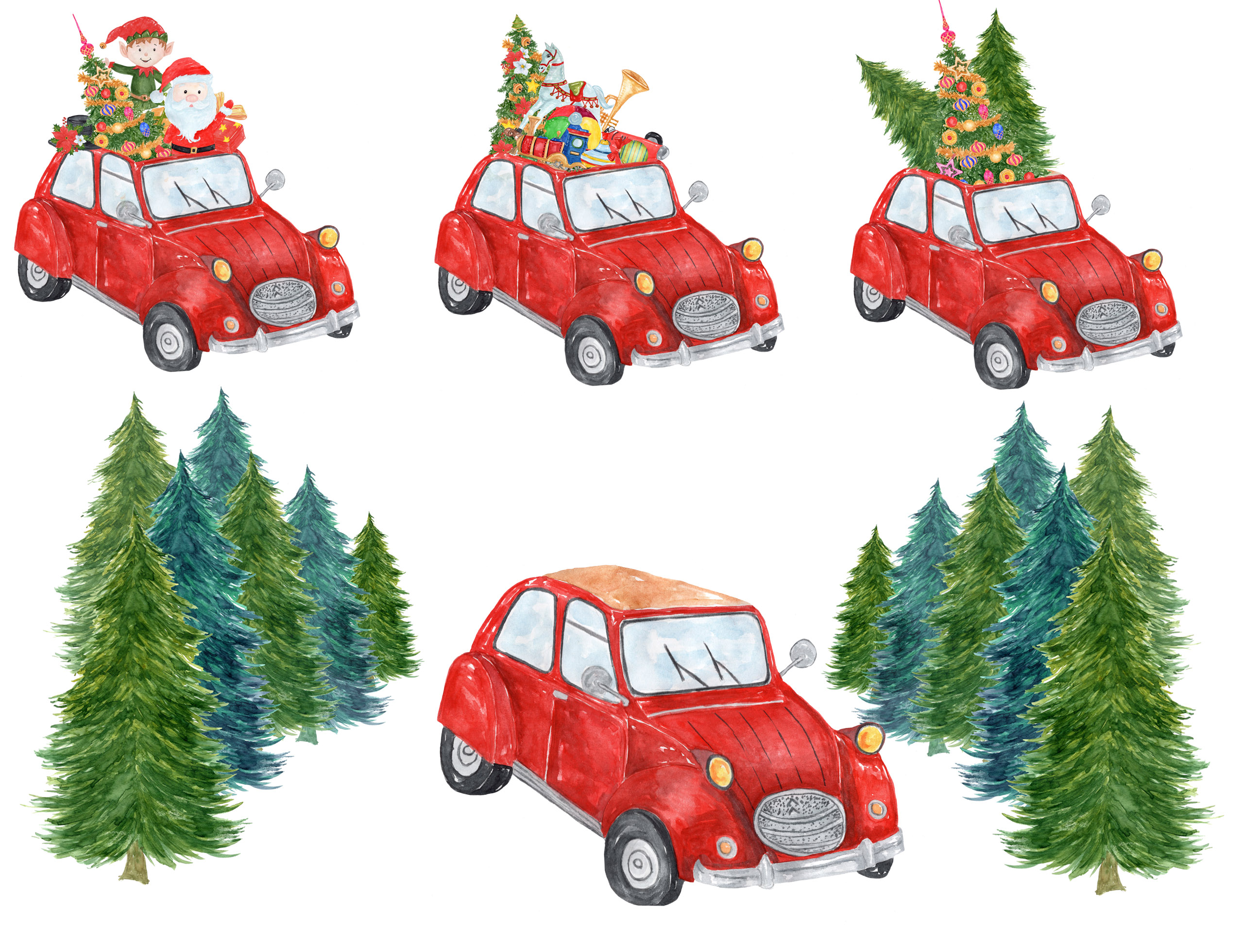 Car christmas clipart svg royalty free stock Watercolor Christmas Car Clipart svg royalty free stock