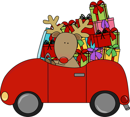 Car christmas clipart svg black and white Reindeer driving a car full of Christmas gifts. | Christmas Clip Art ... svg black and white
