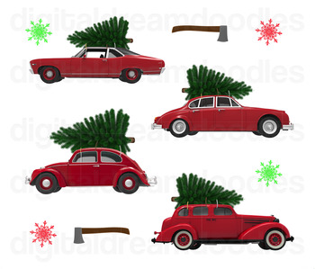 Christmas car clipart picture library Christmas Car Clip Art - Xmas Tree on Classic Cars Digital Graphics picture library