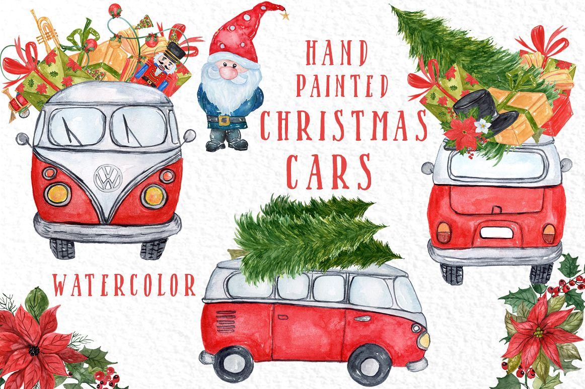 Christmas car clipart jpg free download Watercolor Christmas Cars clipart jpg free download