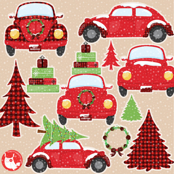 Christmas car clipart picture library stock Christmas vintage car clipart commercial use, graphics, digital - CL1199 picture library stock