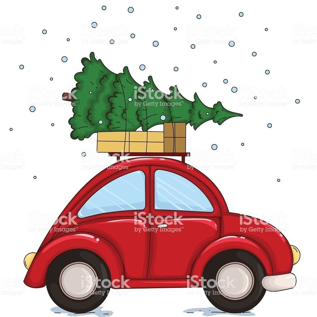 Car christmas clipart clip art transparent download Red Car Driven By A Christmas Tree And Presents Vector Id622008194 ... clip art transparent download