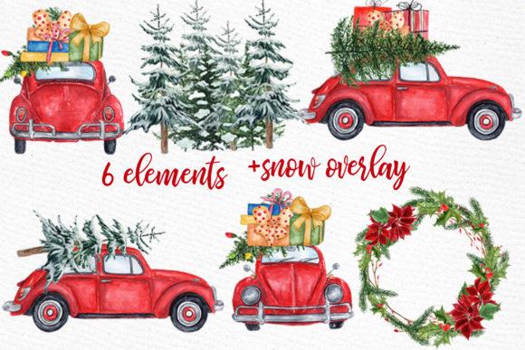 Christmas car clipart clip art Watercolor Christmas Cars Clipart clip art