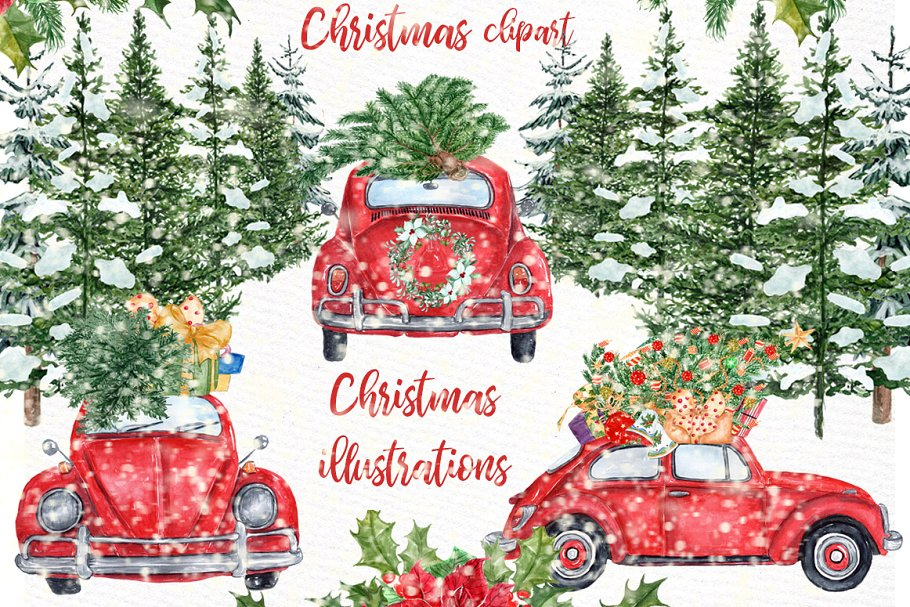 Christmas car clipart png royalty free download Watercolor Christmas Cars Clipart ~ Illustrations ~ Creative Market png royalty free download