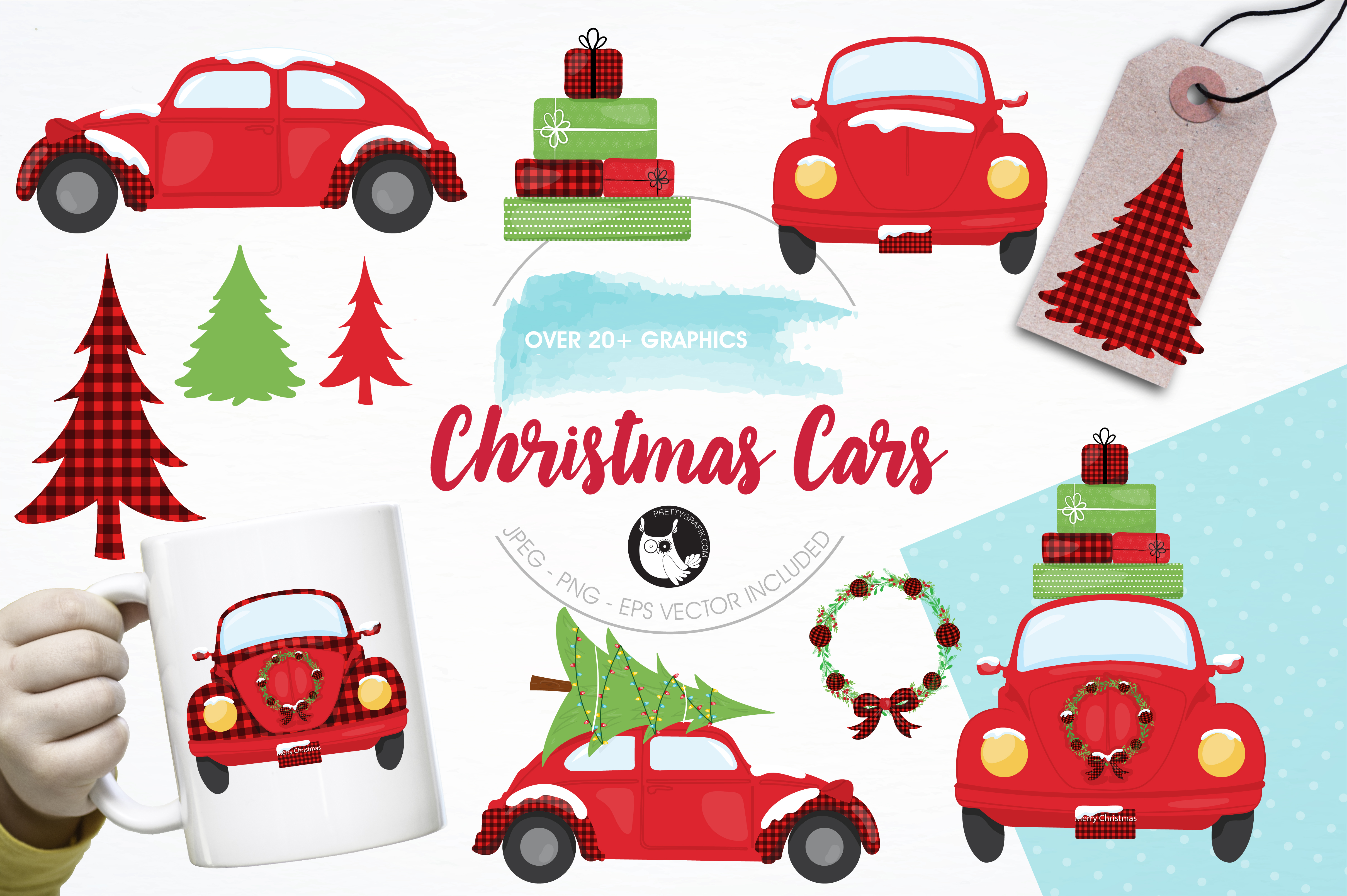 Christmas car clipart image free download Christmas Cars Clipart Set image free download