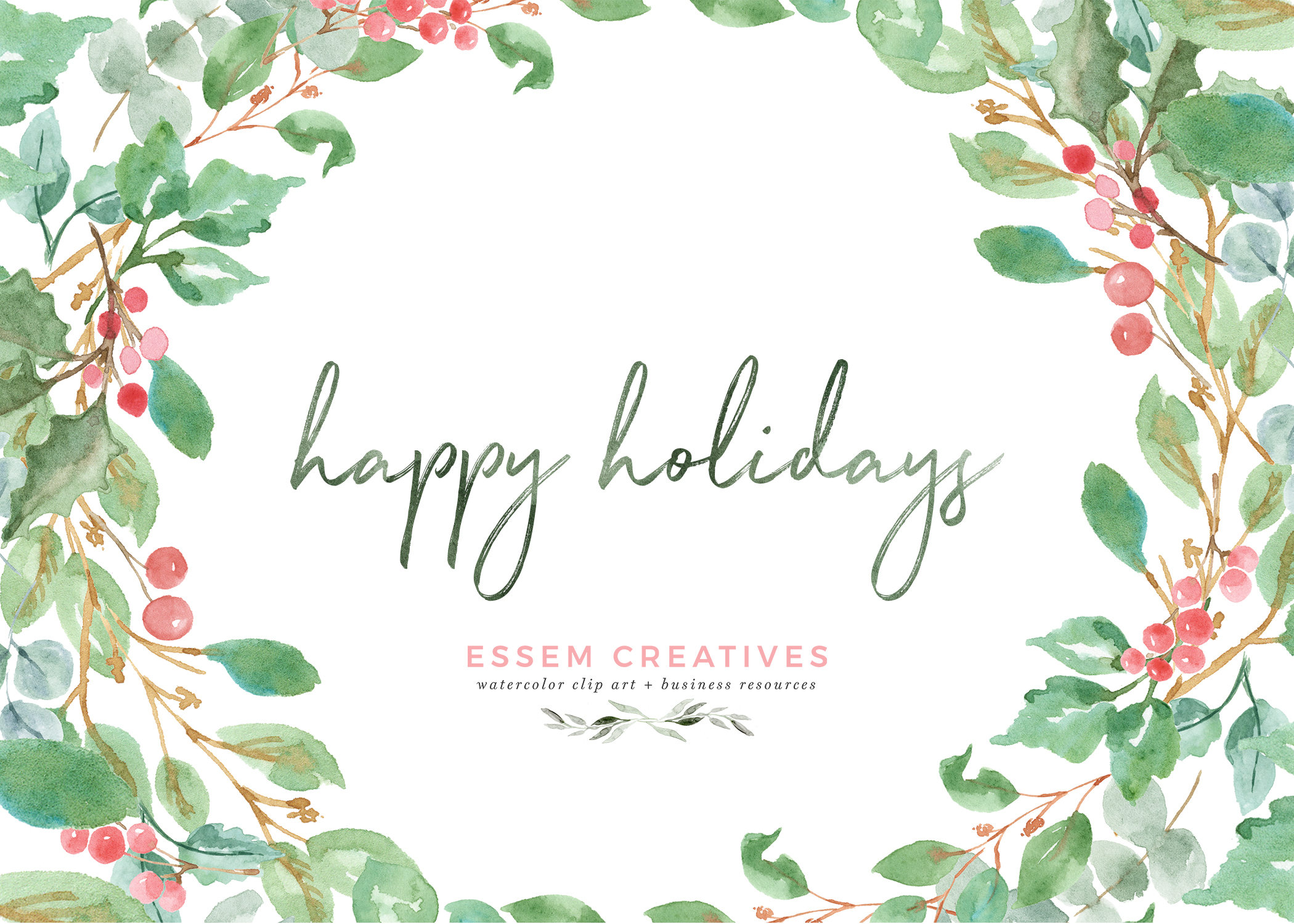 Christmas card borders clipart clip stock Watercolor Christmas Photo Card Templates | Essem Creatives clip stock