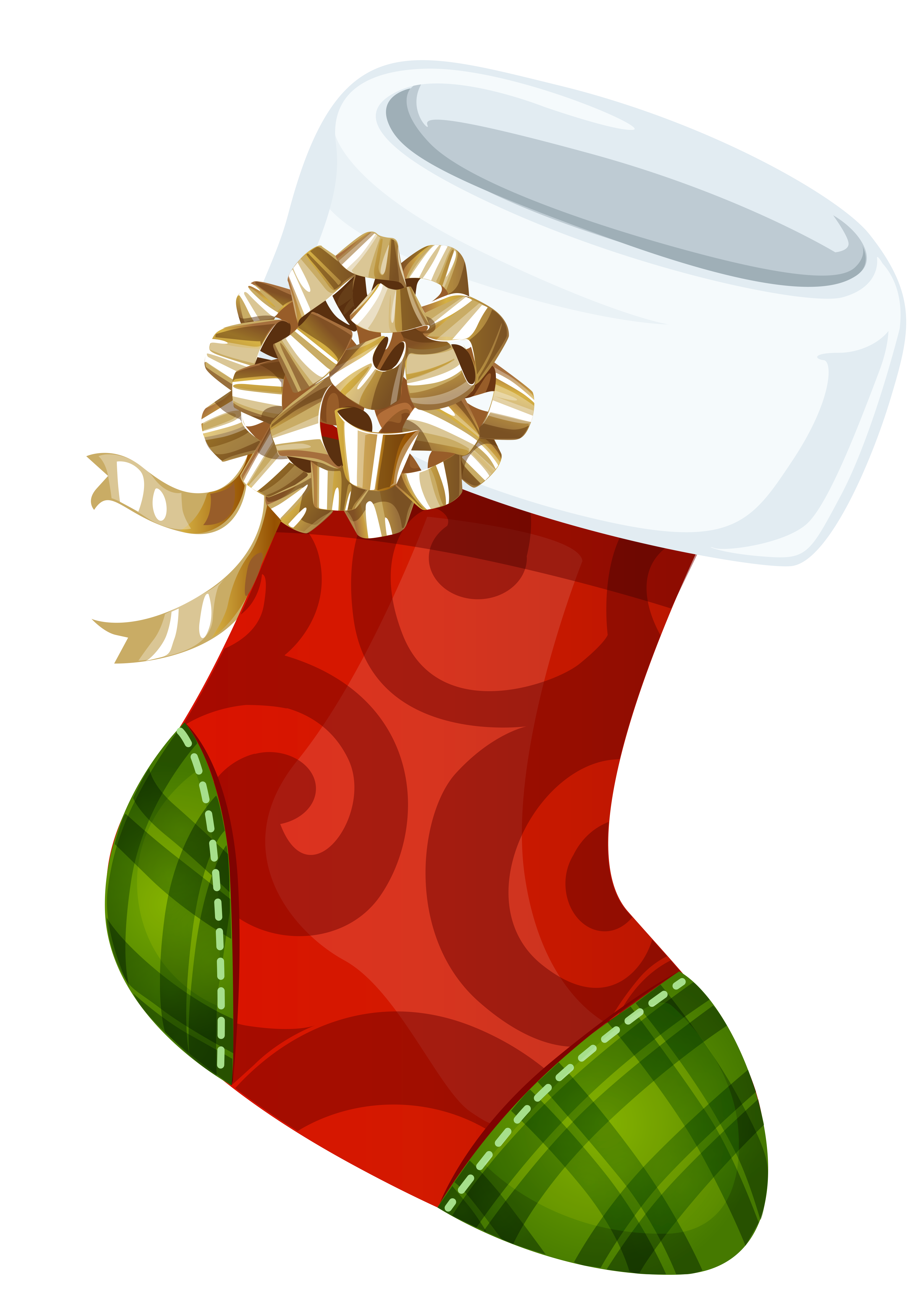Christmas cards clipart png royalty free stock Christmas Stocking with Gold Bow PNG Picture   Gallery Yopriceville ... png royalty free stock
