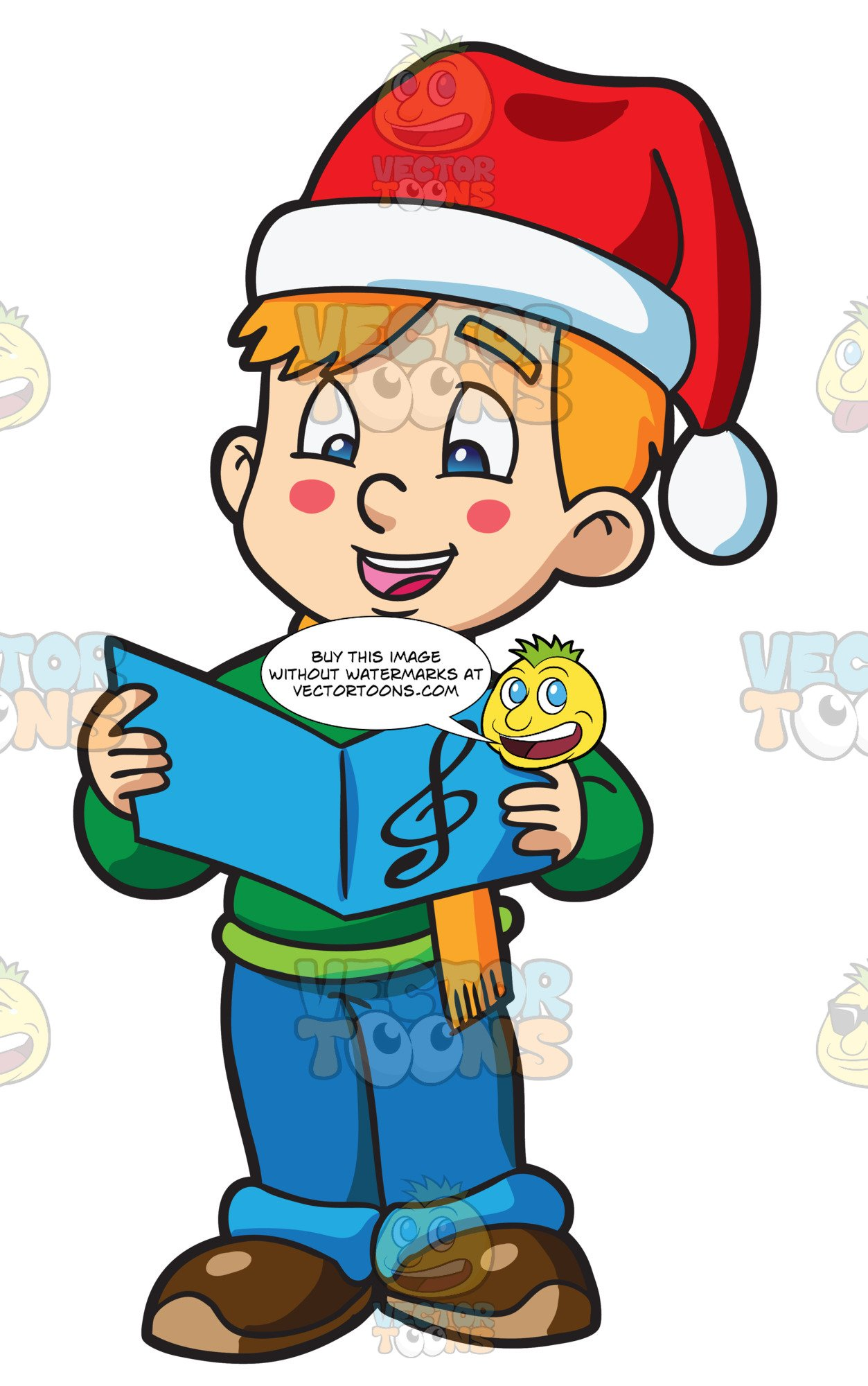 Christmas carol singing clipart picture free A Boy Singing A Christmas Carol picture free