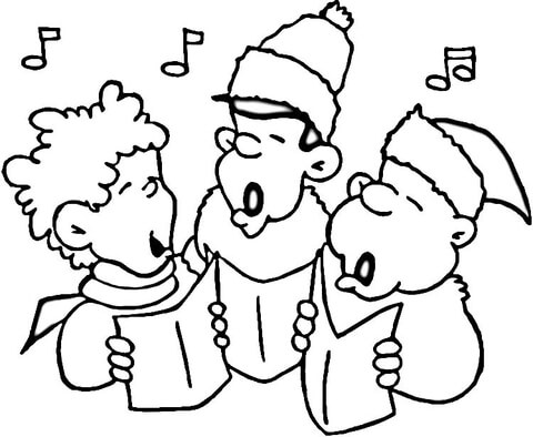 Christmas carollers clipart black and white clipart free Little Carolers coloring page | Free Printable Coloring Pages clipart free