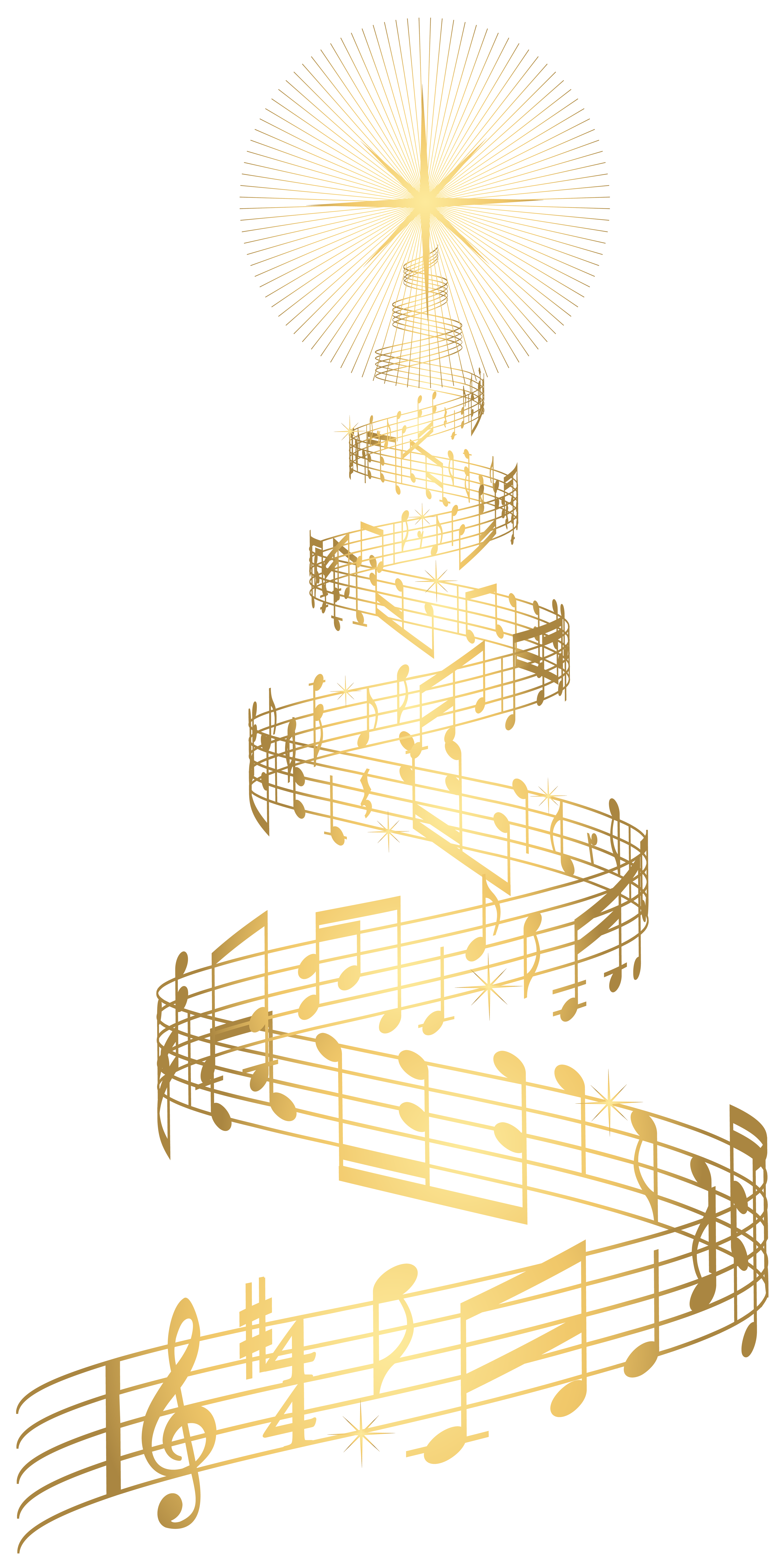 Christmas music clipart freeuse library Golden Music Christmas Tree Transparent PNG Clip Art Image ... freeuse library