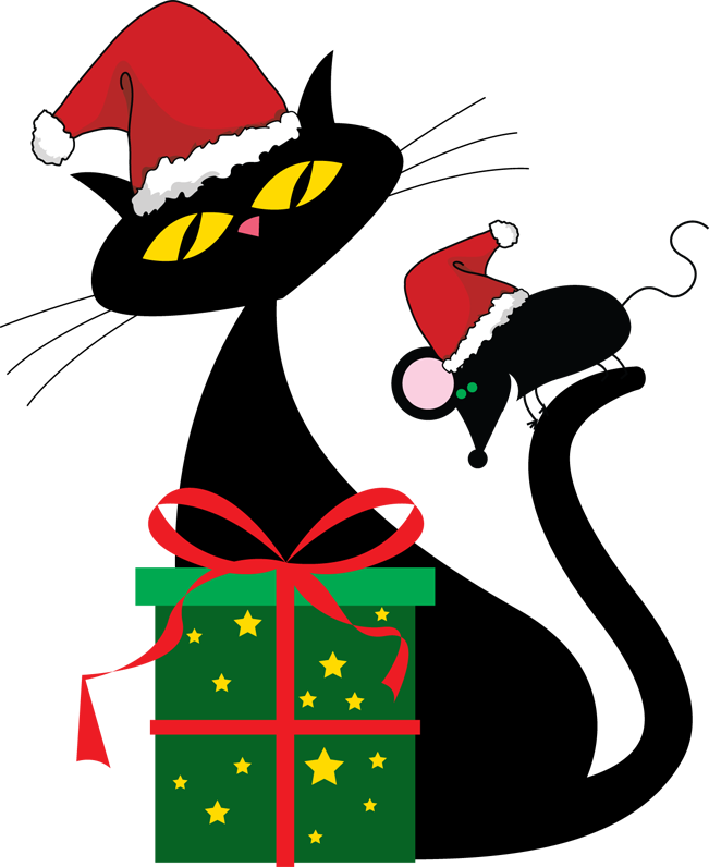 Christmas cat clipart black and white png library Christmas Cats Clipart (47+) png library