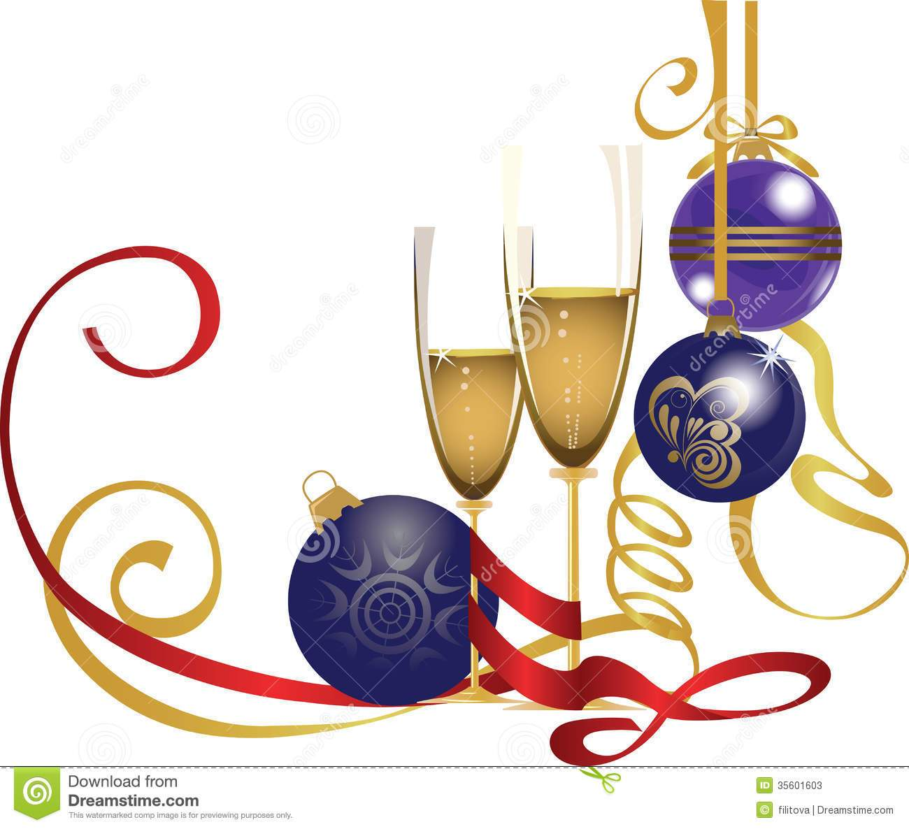 Christmas champagne clipart