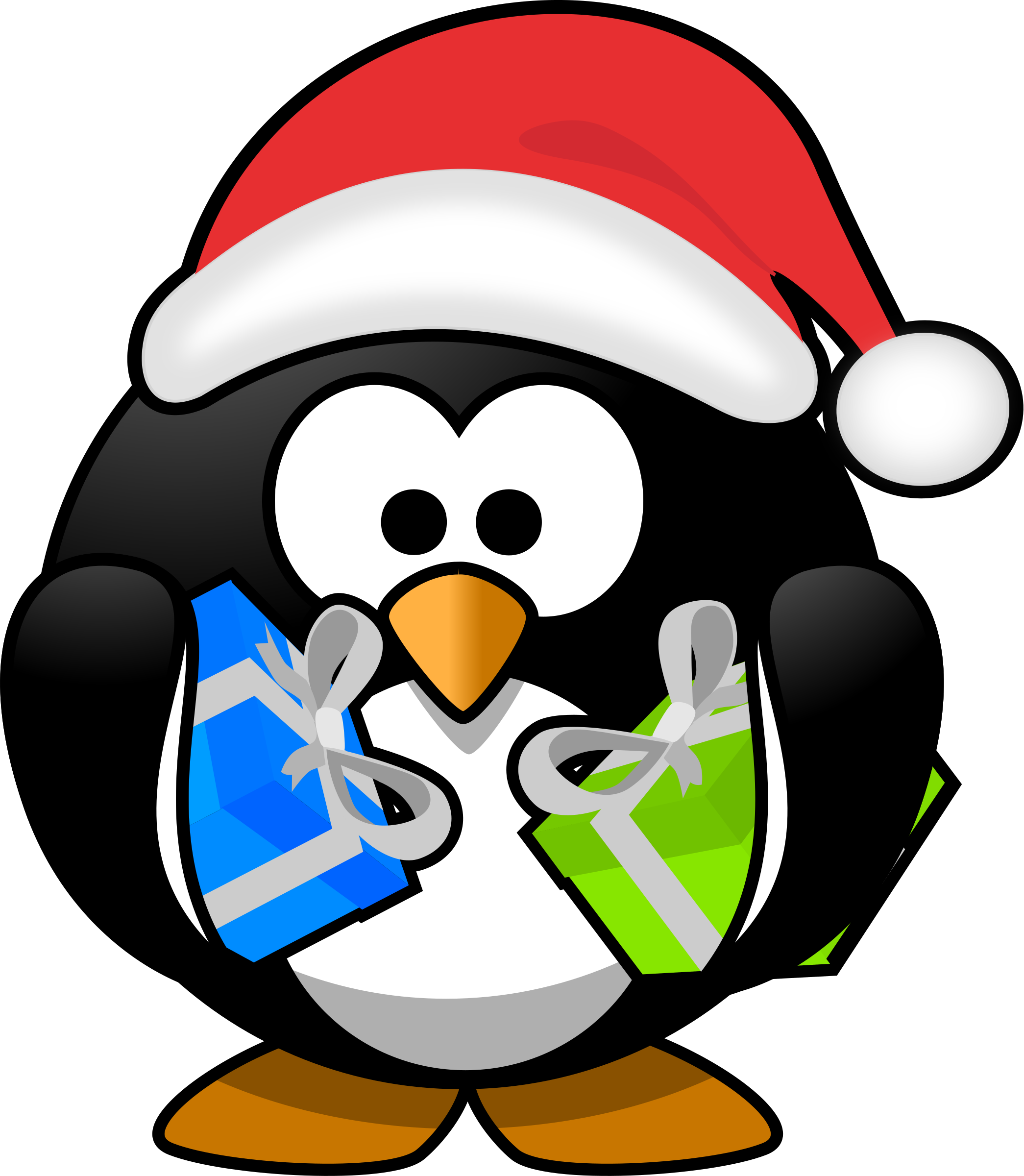 Snowflake and penguin clipart png black and white stock Clipart - Santa penguin png black and white stock