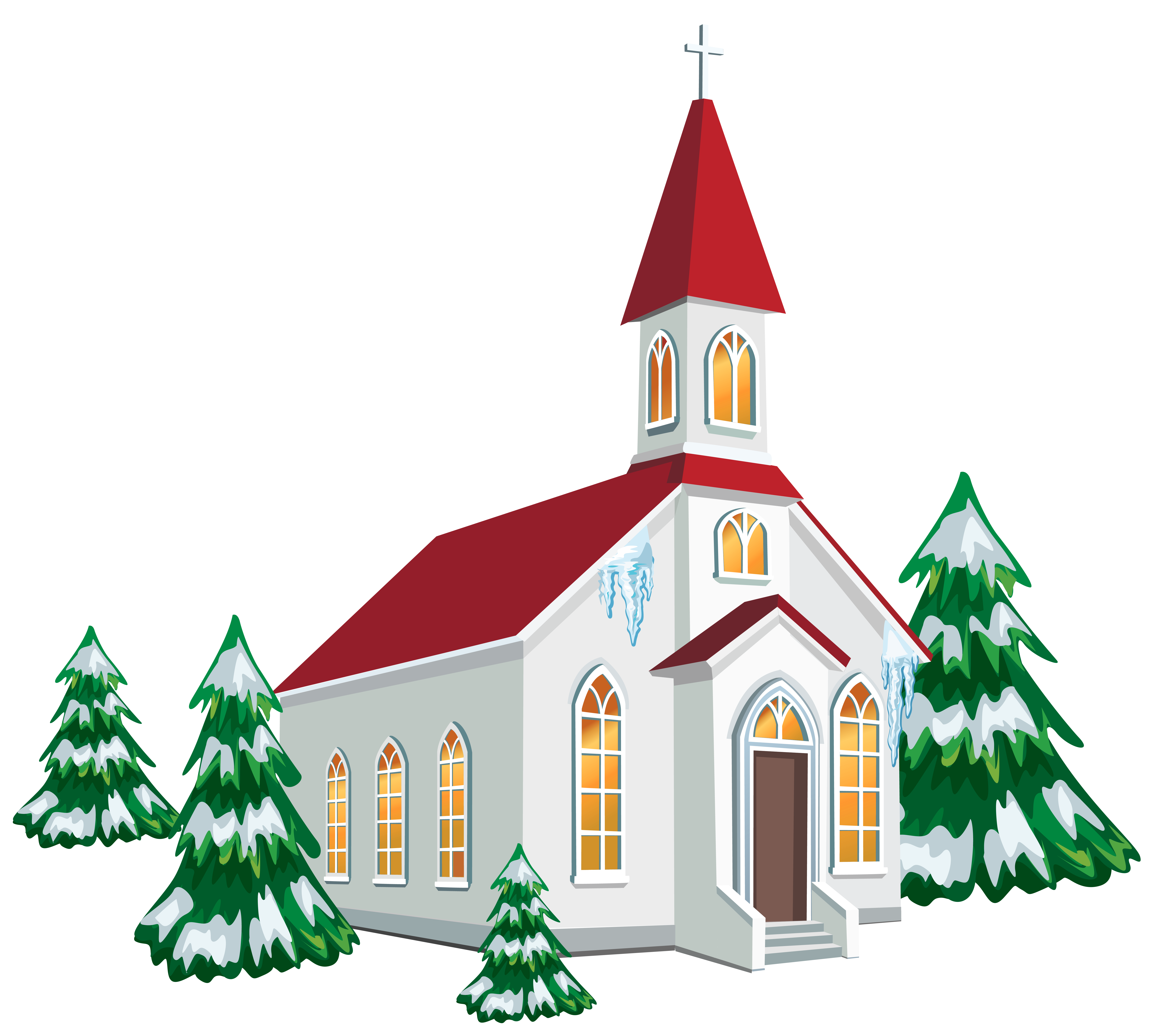 Christmas images religious clipart image black and white library Winter Church with Snow Trees PNG Clipart Image | Gallery ... image black and white library
