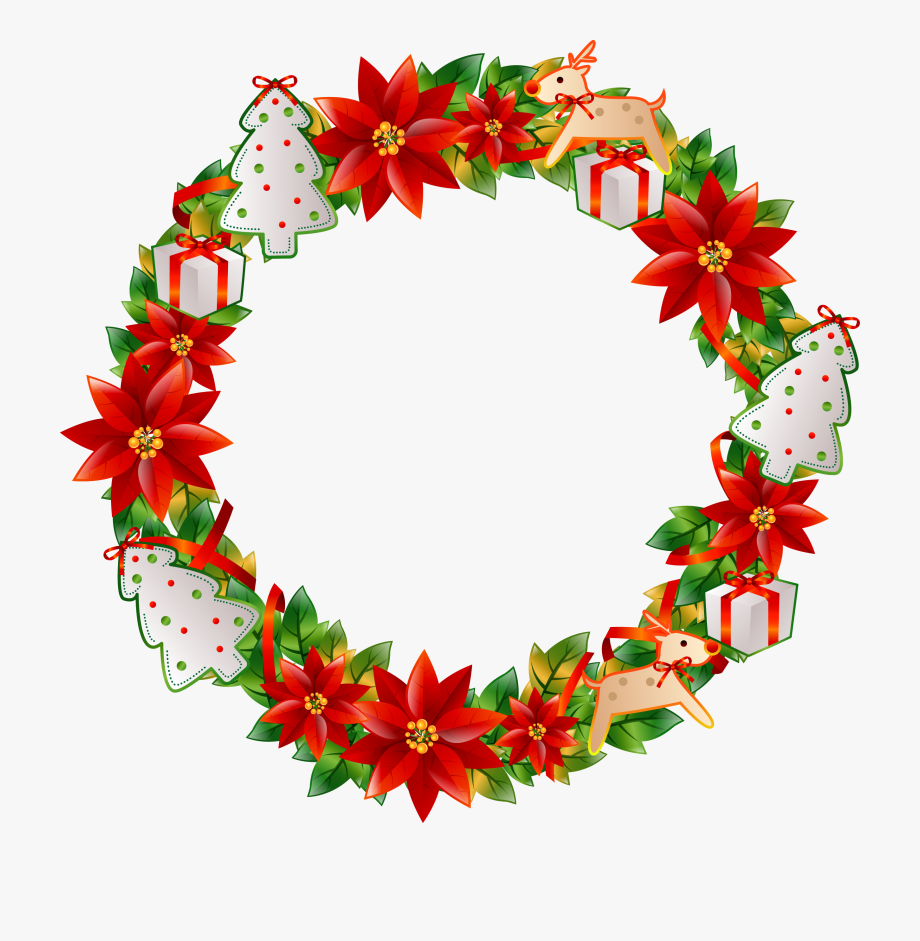Christmas clipart circle clip freeuse library Christmas Flower Circle Transprent Png Free Download - Christmas ... clip freeuse library