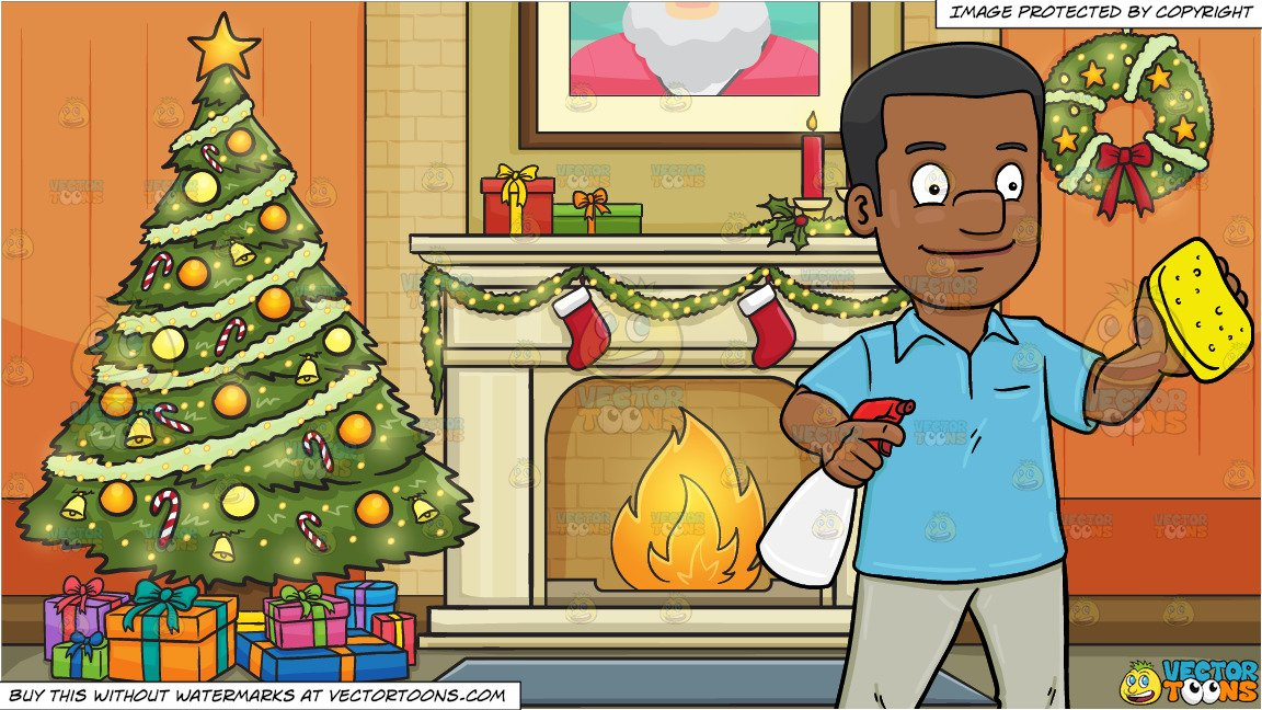 Christmas cleaning clipart banner library stock A Black Man Wiping Off A Stain With Cleaning Components and Living Room  Decorated For The Christmas Holidays Background banner library stock