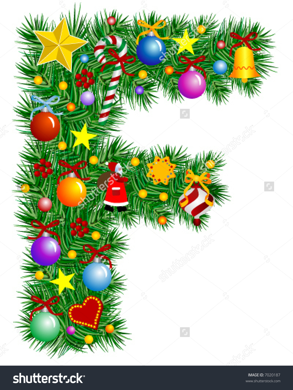 Christmas clip art alphabet letters transparent download Letter F Christmas Tree Decoration Alphabet Stock Vector 7020187 ... transparent download