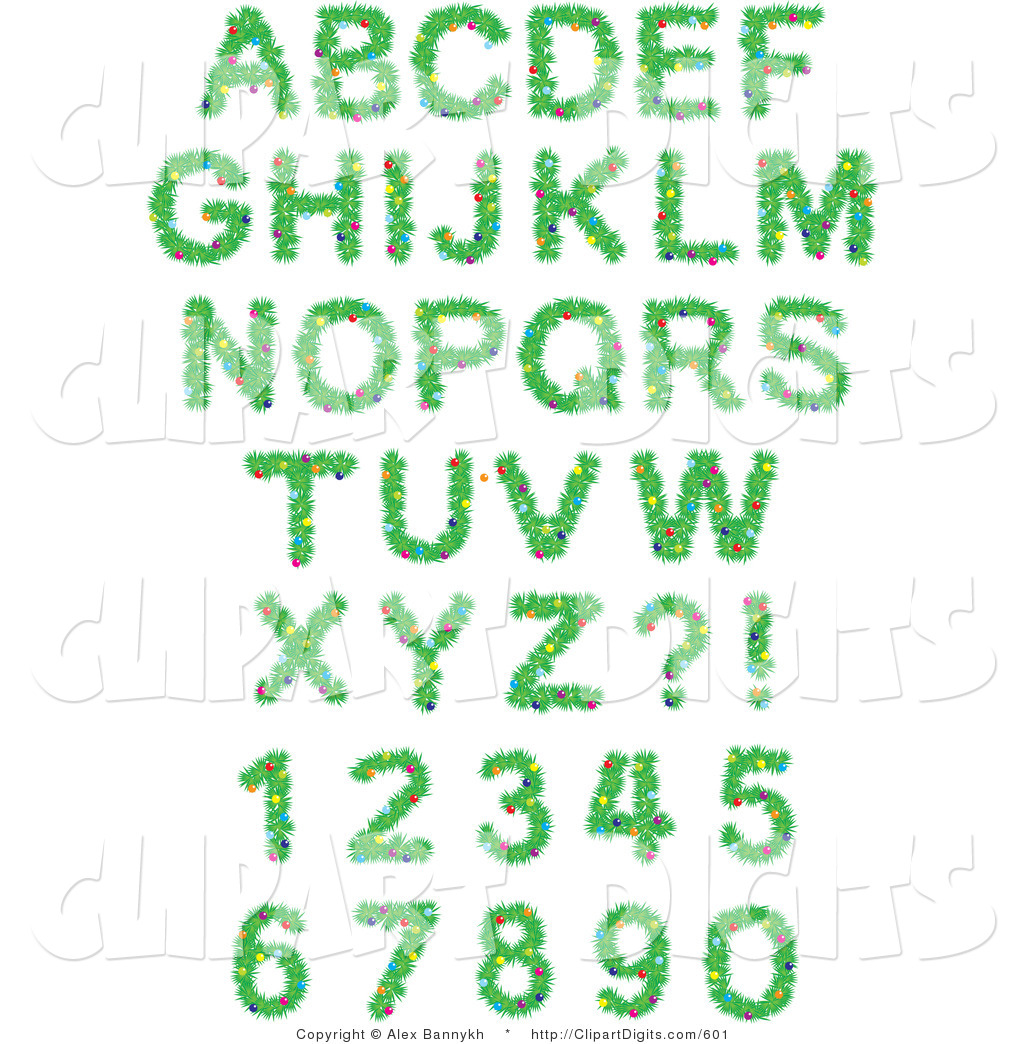 Christmas clip art alphabet letters royalty free stock Vector Clip Art of a Font Set of Christmas Tree Branches with ... royalty free stock