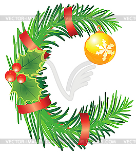 Christmas clip art letters clip art freeuse letter C made of fir branches - vector clip art clip art freeuse