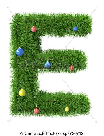 Christmas clip art letters vector royalty free stock Clip Art of E letter made of christmas tree branches isolated on ... vector royalty free stock