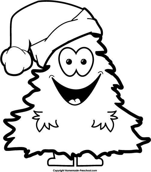Christmas tree with face black and white clipart banner free stock Christmas Clipart Black And White Free & Look At Clip Art Images ... banner free stock
