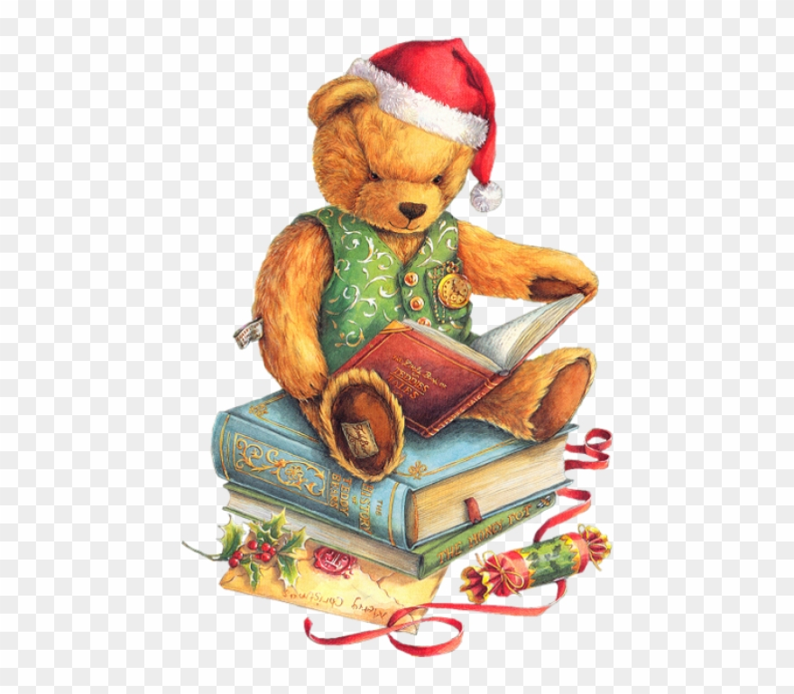 Christmas clipart books reading clipart library stock Christmas Teddy Bear With Santa Hat And Books Png - Christmas Teddy ... clipart library stock