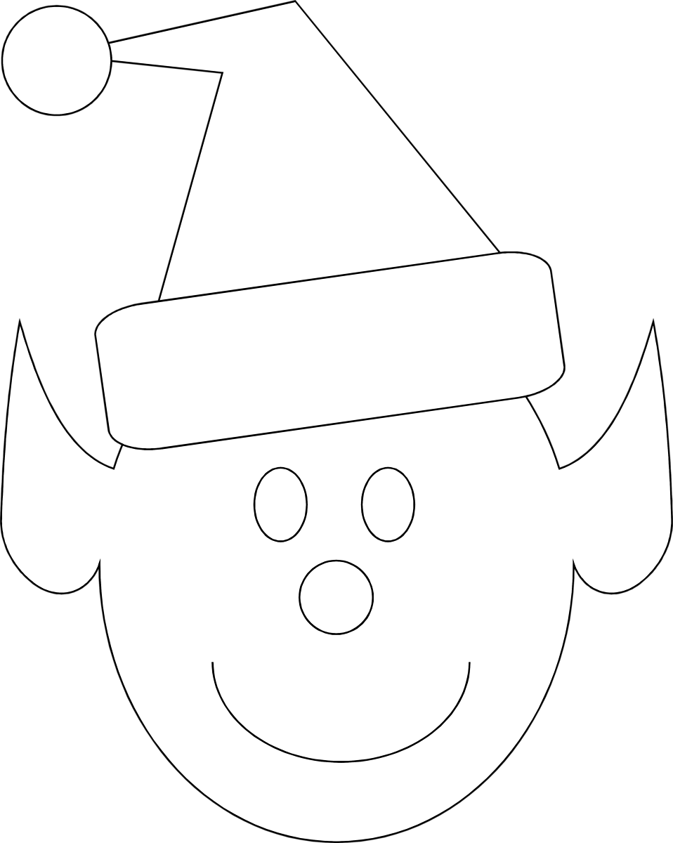 Christmas outline clipart clipart Elf | Free Stock Photo | Illustration of a Christmas elf face | # 7232 clipart