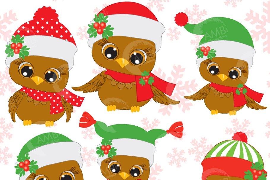 Christmas clipart files jpg transparent download Six Cute Christmas Owls Clipart, 352 jpg transparent download