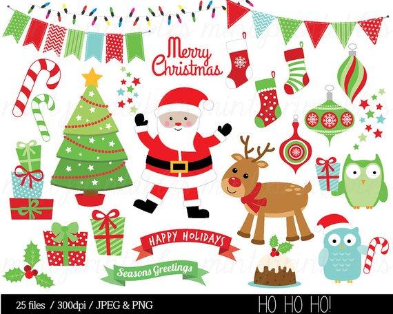 Christmas clipart files clipart stock Christmas Clipart, Santa, Rudolph Reindeer, Festive, Bunting, owl ... clipart stock
