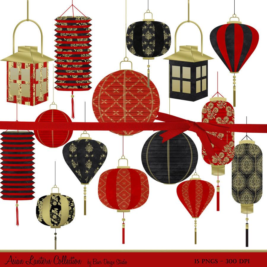 Christmas clipart for asian svg transparent Chinese Lantern Clip Art, Digital Clipart Christmas, Chinese New ... svg transparent