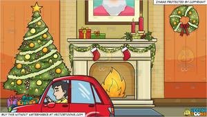 Christmas clipart for asian graphic An Asian Man Driving A Subcompact Red Hatchback Car and Living Room  Decorated For The Christmas Holidays Background graphic