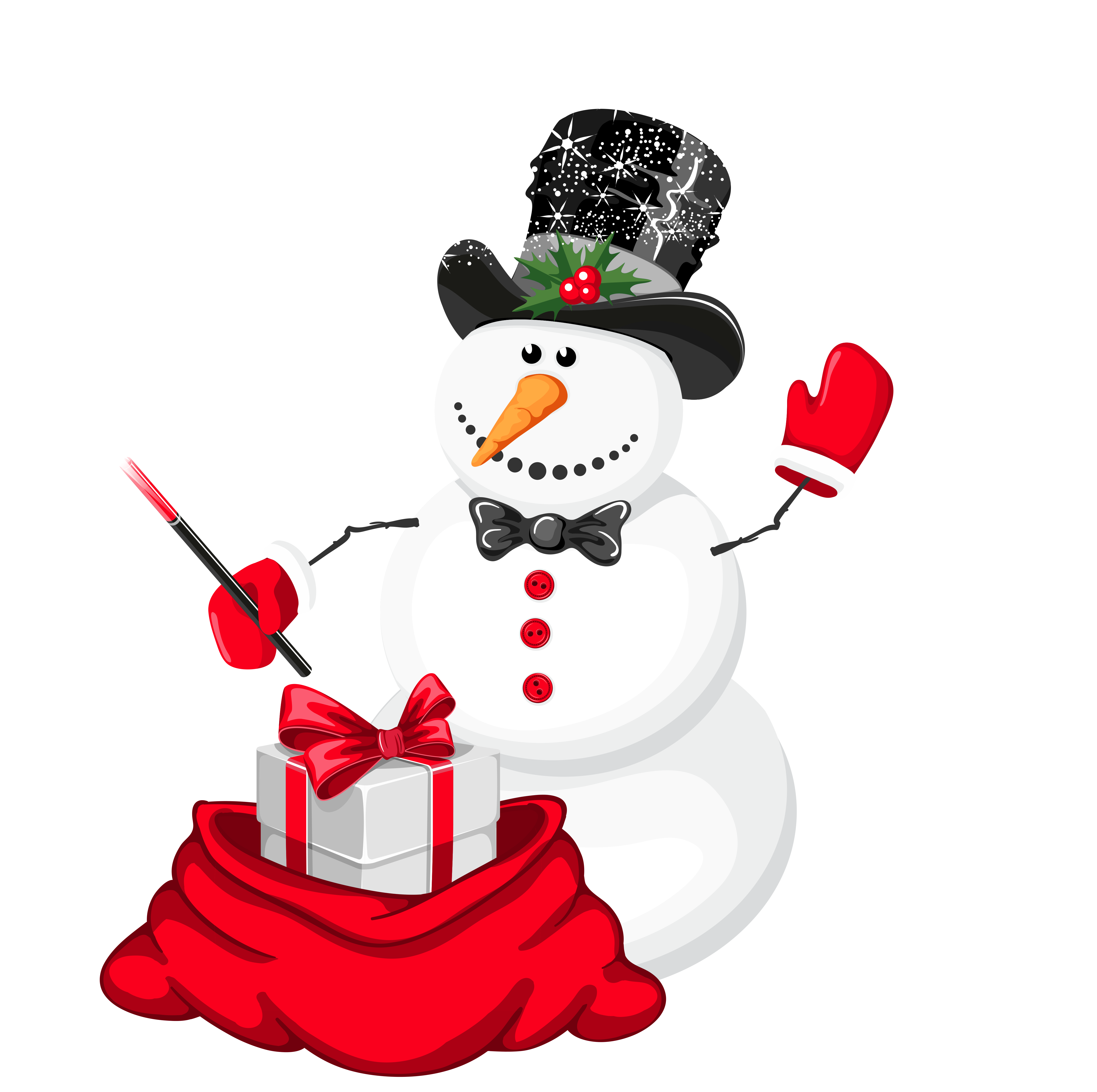Snowman with heart clipart clipart transparent stock Christmas Snowman Magician PNG Clipart | Gallery Yopriceville ... clipart transparent stock