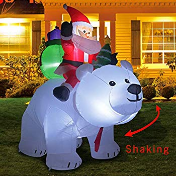 Christmas clipart illuminated grass transparent library Kemper King 6 Foot Christmas Inflatables Santa on Bear, Airblown Inflatable  Bear with Santa and Gifts, Lighted for Home Outdoor Yard Lawn Decoration transparent library